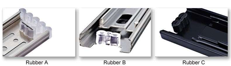Choice of rubber for ball bearing drawer slides 1