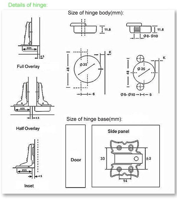 Hydraulic Cabinet hinge size